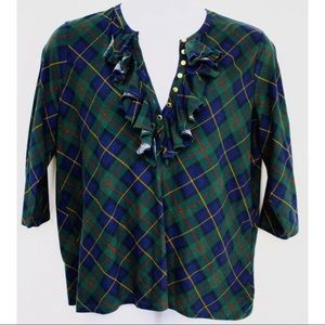 Ralph Lauren Tops - Ralph Lauren Shirt Navy Blue Green Plaid Ruffle 2X
